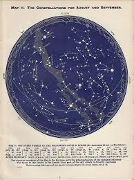 Vintage Star Chart Moon Stars Star Chart