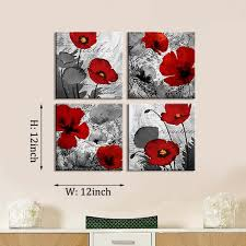 com red flower paintings canvas print black and white poppy pictures modern artwork ready to hang for wall decor 12x12in posters prints