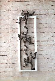 climbing men framed art wire mesh sculpture wall decor metal decoration day drive by truckers full