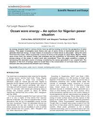 scientific research and essays ocean wave energy an option for scientific research and essays ocean wave energy an option for ian power situation pdf available
