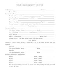 Employment Emergency Contact Form Emergency Contact Form Template Word Inspirational Parent