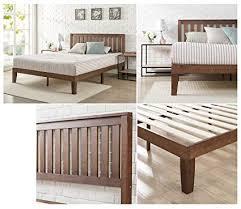 zinus 12 inch wood platform bed with headboard no box spring needed wood slat