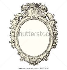 ornate hand mirror drawing. Vintage Hand Mirror Drawing Ornate