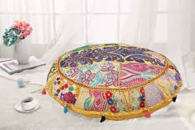 Buy DK Homewares Round Ethnic Floor Pillow <b>Bohemian Mango</b> ...