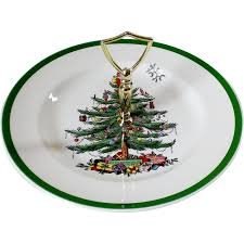 spode christmas tree green trim round serving plate with handle annieu0027s avenue antiques ruby lane spode christmas tree china s16