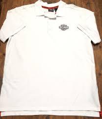 harley davidson mens white short sleeve polo shirt size xl embroidered crest euc