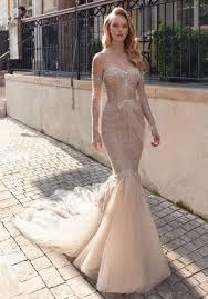 Beaded Designer Wedding Gowns Adi Shlomo Ariana Beaded Corset Beige Mermaid Wedding