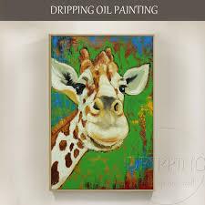 artist hand painted lovely animal smiling giraffe oil painting on canvas funny cute giraffe portrait
