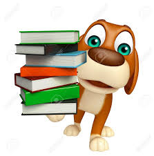 3d rendered ilration of dog cartoon character with book stack stock ilration 53307746