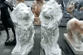 outdoor lion statues large stone roaring in front of house concrete statue garden