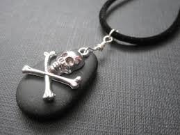 crossbones black sea glass cord pirate necklace vamps jewelry gothic victorian jewelry