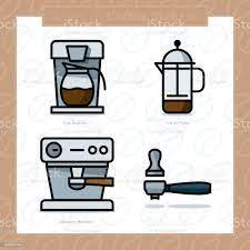 Kahve Makineleri Renkli Simge Türleri Ayarla Ve Vektör Çizim 3 Renkli Stok  Vektör Sanatı & Kahve Filtresi'nin Daha Fazla Görseli - iStock