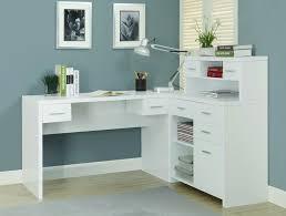 sleek white finished l shaped corner office desk with storage