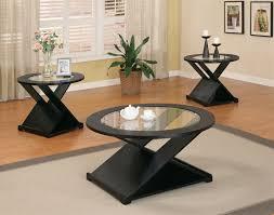 round black coffee table. Plain Black 3 Piece Occasional Set On Round Black Coffee Table