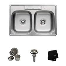 Kindred Stainless Steel Double Kitchen Sink With Faucet And Bottom Stainless Steel Double Kitchen Sink