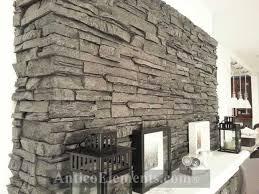 example of imitation faux panel stone applied to a fireplace remodeling