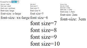 Html Font Size Chart