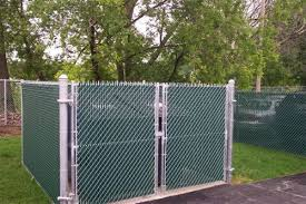 chain link fence double gate. 6 Foot Tall, Galvanized Chain Link, Double Gates, With Green Privacy Slats At Link Fence Gate