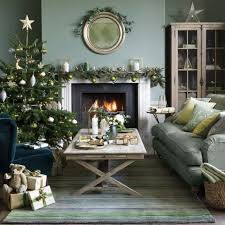 grey green living room with tree