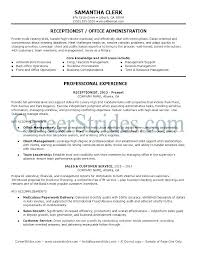 Reception Resume Administrative Receptionist Resume Admin Receptionist Resume