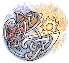 эскиз татухи знака зодиака рыбы в круге