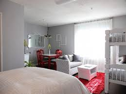 decorating one bedroom apartment. Creative Design One Bedroom Apartment White Bunk Bed Red Dining Chairs Gray Walls Rug Area Decorating