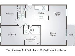 2d the hideaway a contains 2 bedrooms and 1 bathrooms in 985 square feet of