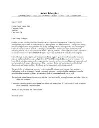 Sample Cover Letter For Technical Support Sample Cover Letter For