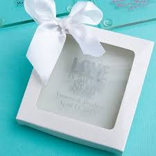 personalized wedding coaster favor in white gift box add on with white satin ribbon bow