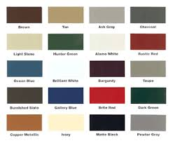 Metal Roofs Metal Roof Color Chart
