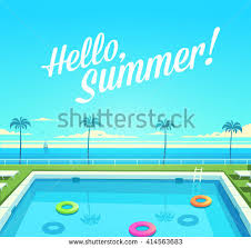 swimming pool vector. Summer Holidays Poster, Background With Open Air Swimming Pool Vector S
