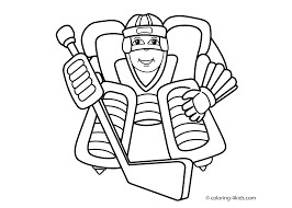 Hockey Sport Coloring Page For Kids