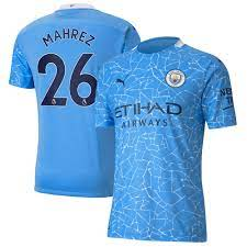 Manchester City Authentic Home Shirt 2020-21 with Mahrez 26 printing