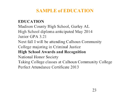 23. 23 SAMPLE of EDUCATION EDUCATION Madison County High School ...