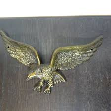 vintage brass american eagle wall hanging plaque mid century m