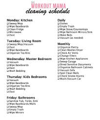 Daily Weekly Monthly Chores Daily Weekly Monthly Cleaning Schedule The Workout Mama