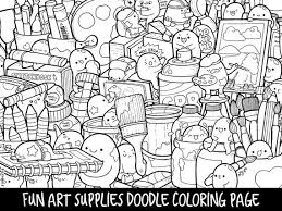 The kawaii style is very popular nowadays and is interesting to boys and girls. Art Supplies Doodle Coloring Page Printable Cute Kawaii Etsy