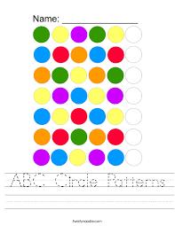 ABC Circle Patterns Worksheet - Twisty Noodle