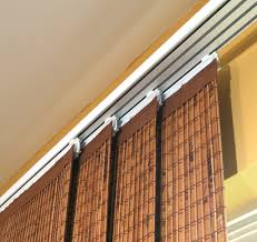 4 tier brown bamboo curtain panels with white rod for window decor idea