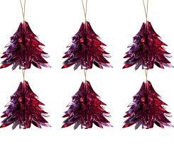 12er Set Glitzerschmuck Baum Rot Pink