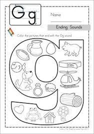 Printable phonics beginning sounds worksheet for kids. Ending Sounds Color It Alphabet Preschool Kindergarten Letters Kindergarten Language Arts