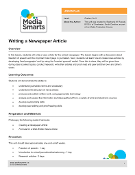 Writing A Newspaper Article Writing A Newspaper Article