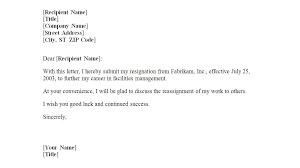 Template Of Letter Of Resignation Sample Resignation Letter