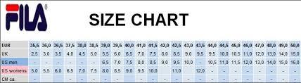 Fila Shoe Size Chart Fila Shoes Size Chart Vedic Life Info
