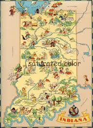 105 best maps of indiana images on pinterest indiana, indiana Ft Wayne Indiana Map vintage indiana original 9 x 13 antique picture map of indiana ruth taylor white indianapolis fort wayne evansville south bend souvenir fort wayne indiana map