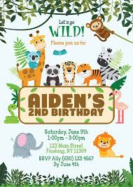 Jungle Theme Birthday Invitations Digital Printable Jungle Animals Birthday Invitation Boy