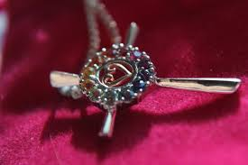 rainbow sapphire cross necklace