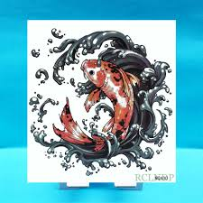 Waterproof Temporary Tattoo Sticker Gold Golden Fish Fake Tatto Flash Tatoo On Body Back Belly Large Size For Women Men Girl