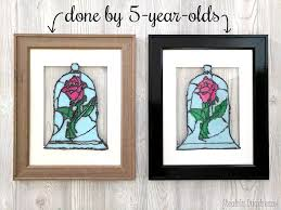 faux stained glass beauty and the beast rose can be a fun kids craft too
