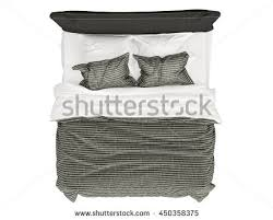 double bed top view.  Double Modern Bed Isolated On White Background Top View With Double Bed Top View